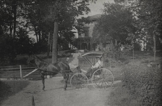 Horse and carriage at the Miller farm circa 1895 (Courtesy of UA Archives)