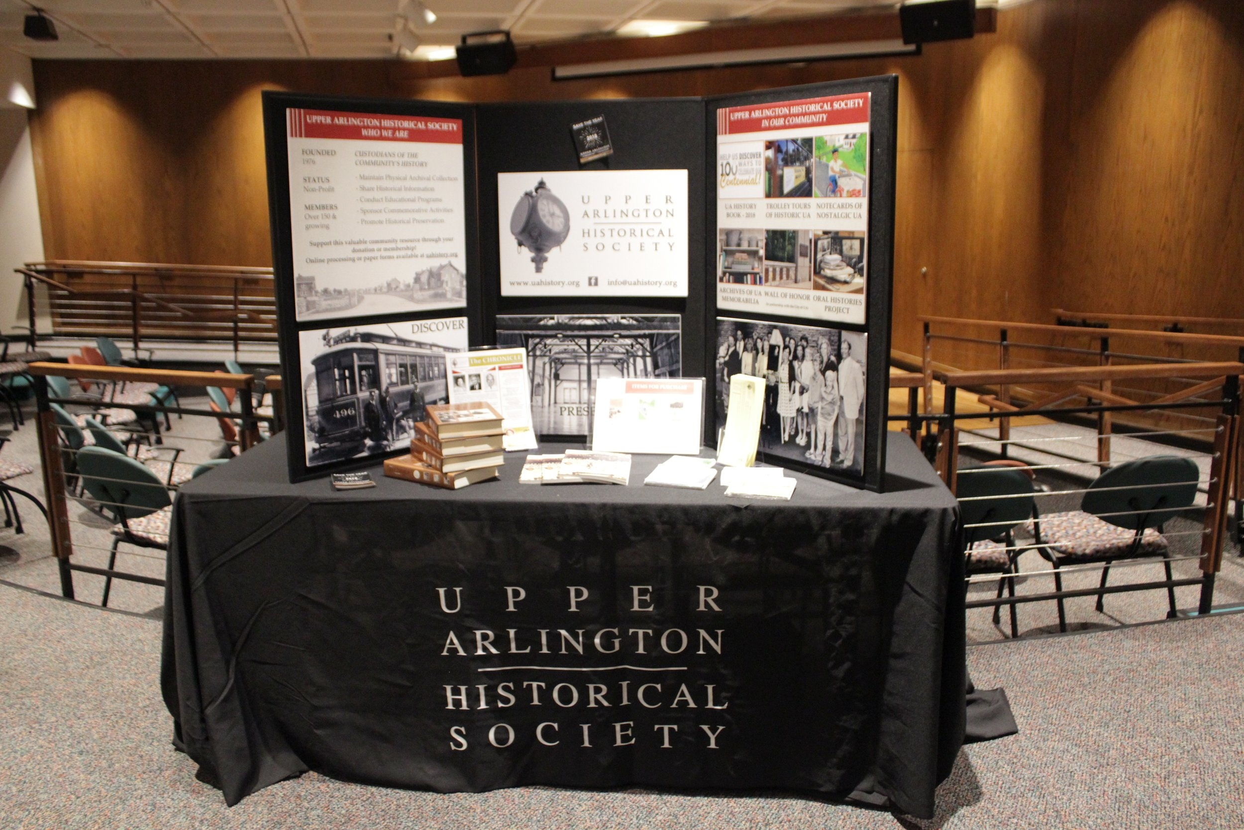 This new tri-fold display board and table skirting was purchased using funds generously donated by John & Kate Brody.