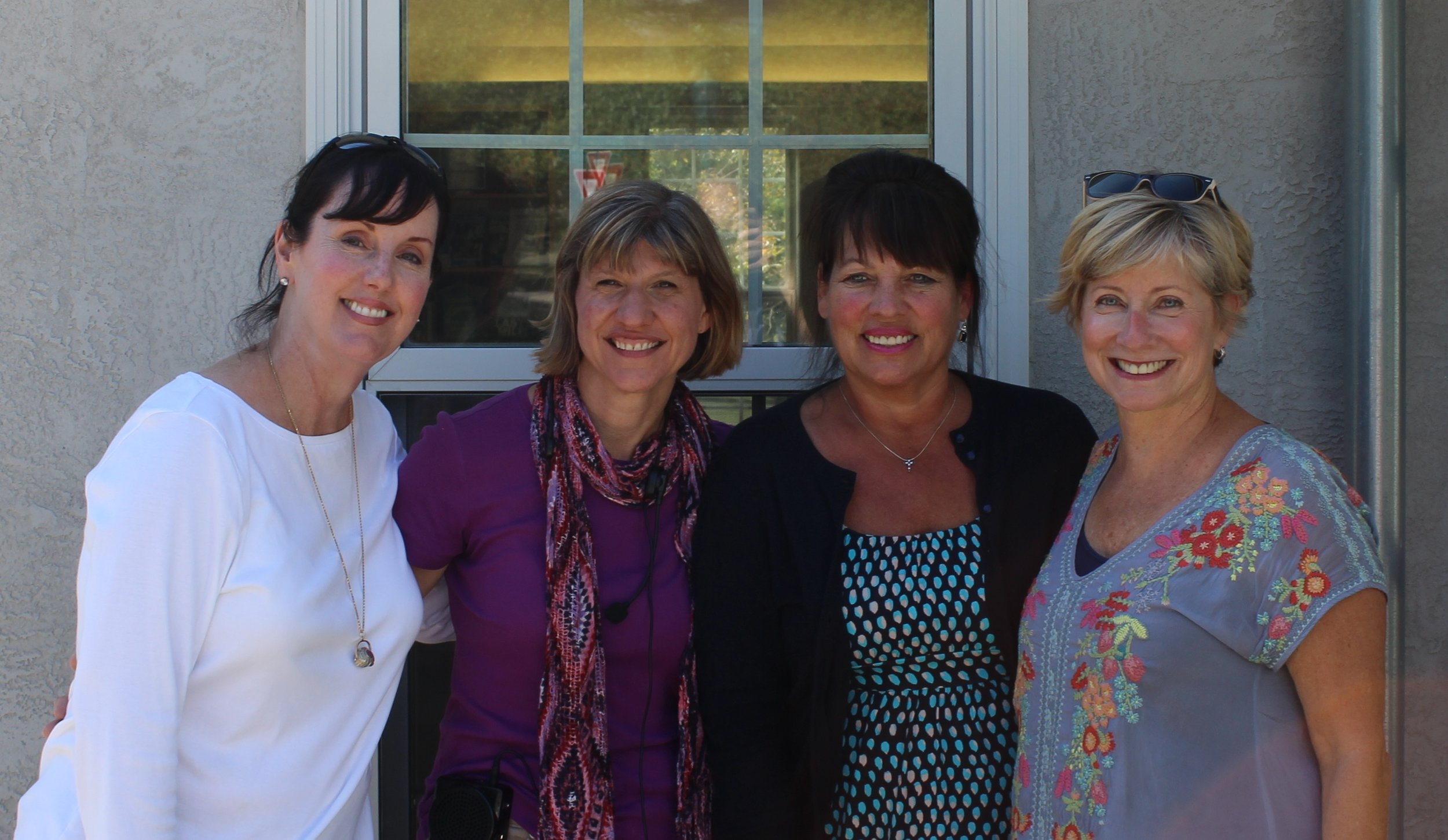 """The """"helpers"""" are all smiles after a successful Historic District walking tour."""