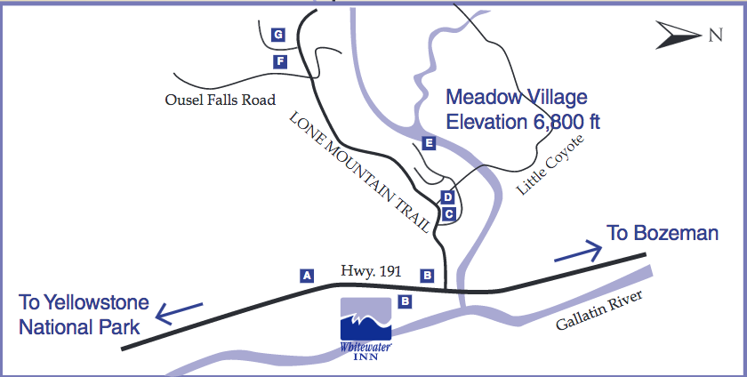 Big Sky Resort is a 1:15 drive from Bozeman/Yellowstone Airport. Map courtesy of Big Sky Resort.