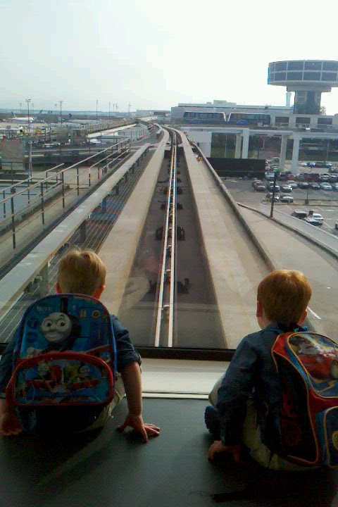 My twin nephews on the train at Houston airport. They were so excited when we had to switch terminals because they got to ride a TRAIN. I had to laugh despite my annoyance at the gate change.