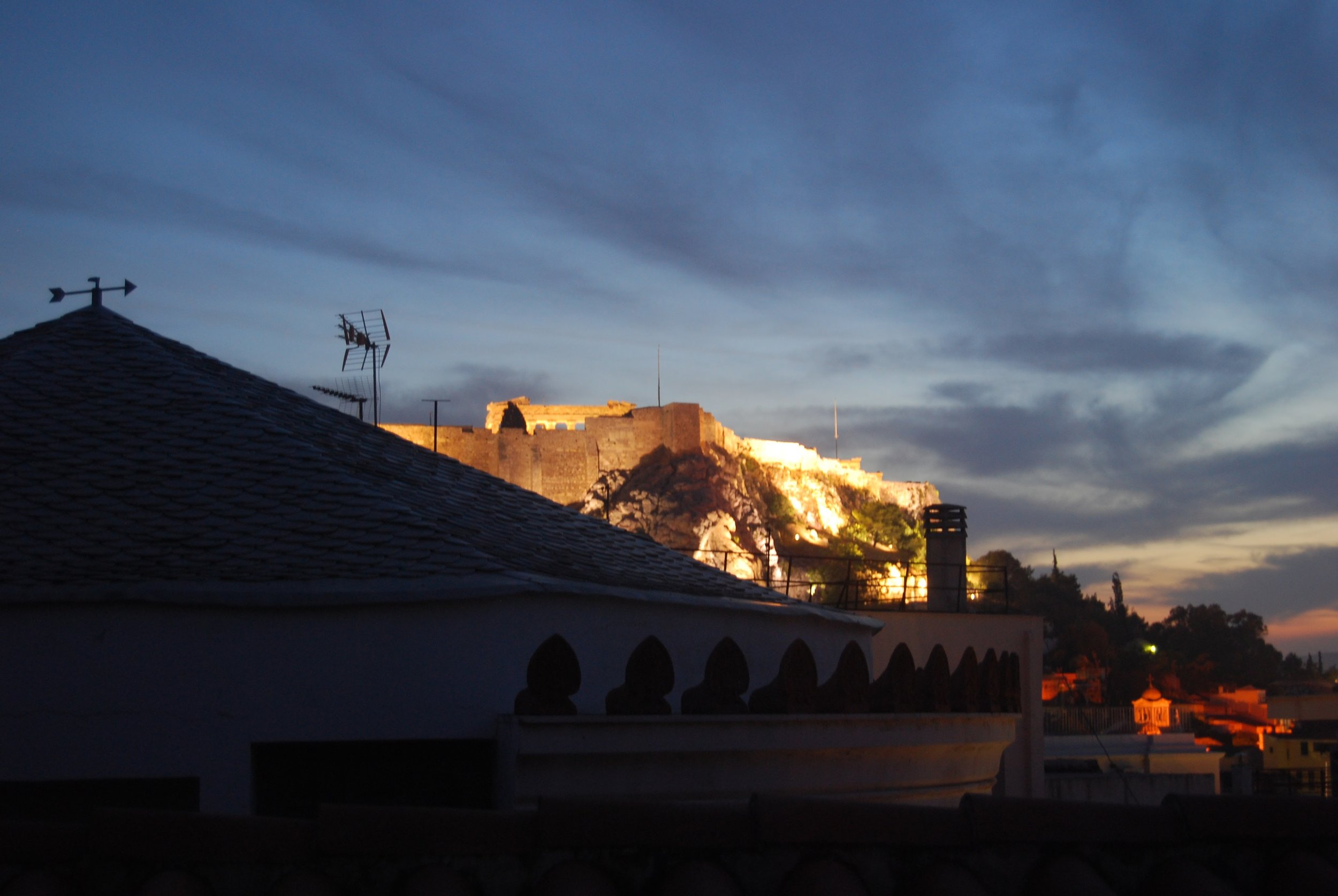 The view from the rooftop of the Alice Inn, one of my favorite hotels in Athens.
