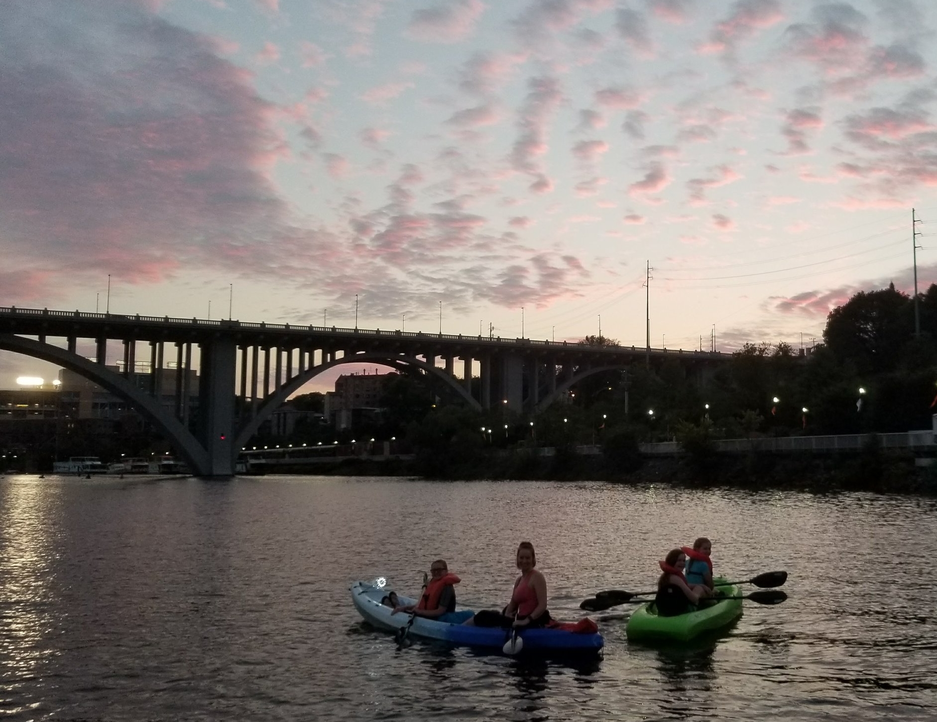 My niece and her friends on the Tennessee River during a sunset kayak excursion, proving that you can get tweens off their phones.