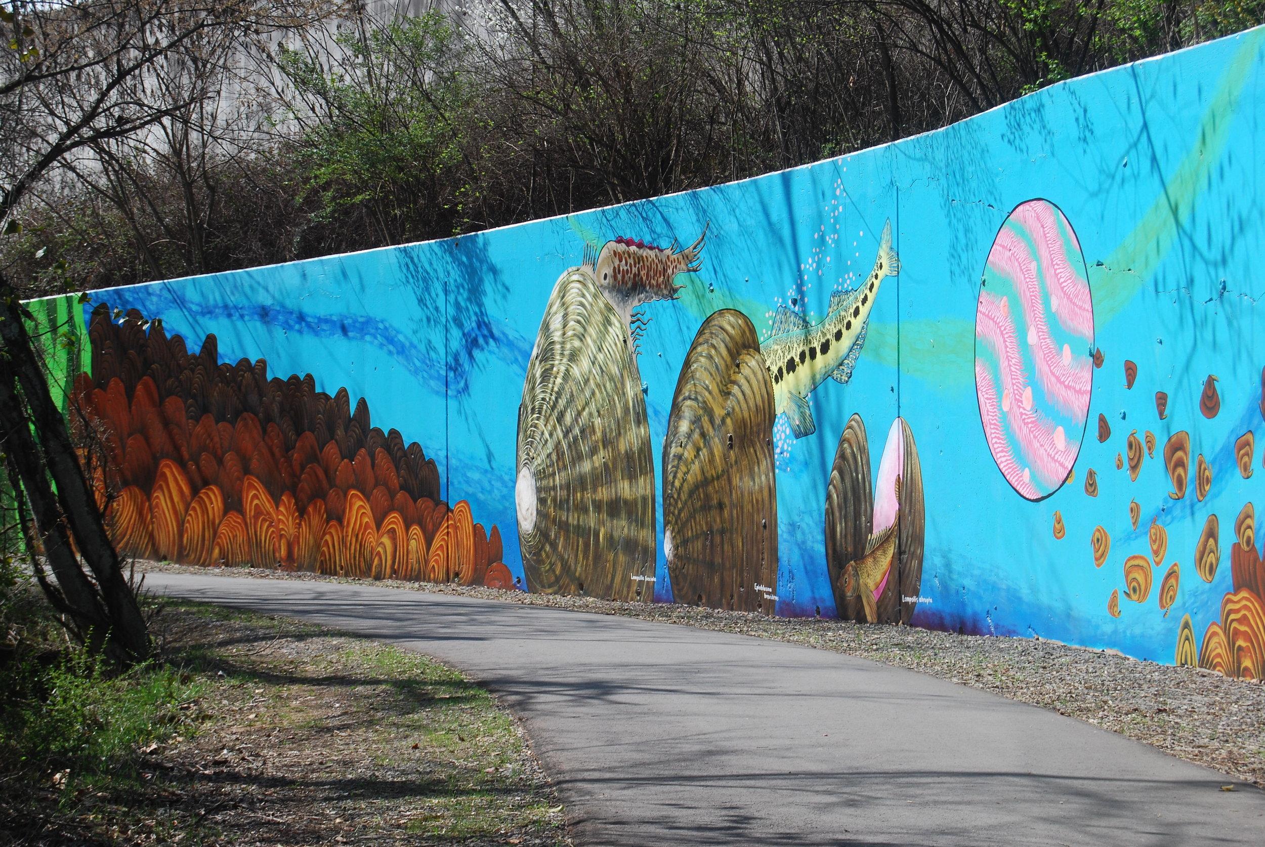 Mural of stream life along 3rd Creek