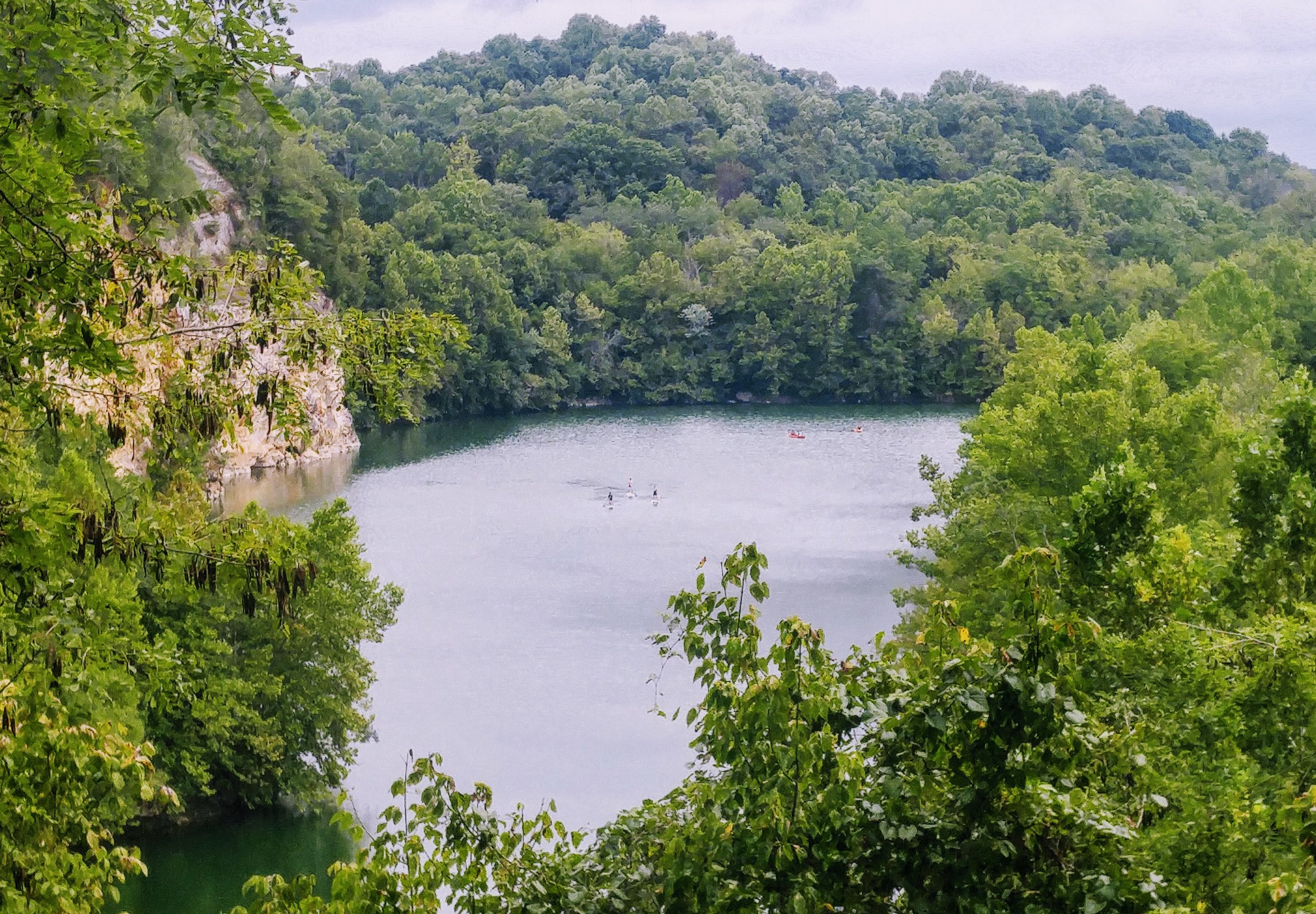 Looking over Meads Quarry from Tharp Trace trail
