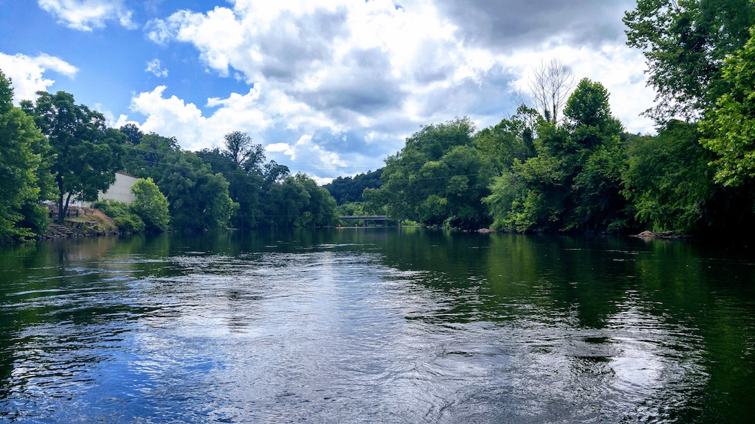 Taken from a paddleboard on the river that runs right through town. Rent one at Bryson City Outdoor.