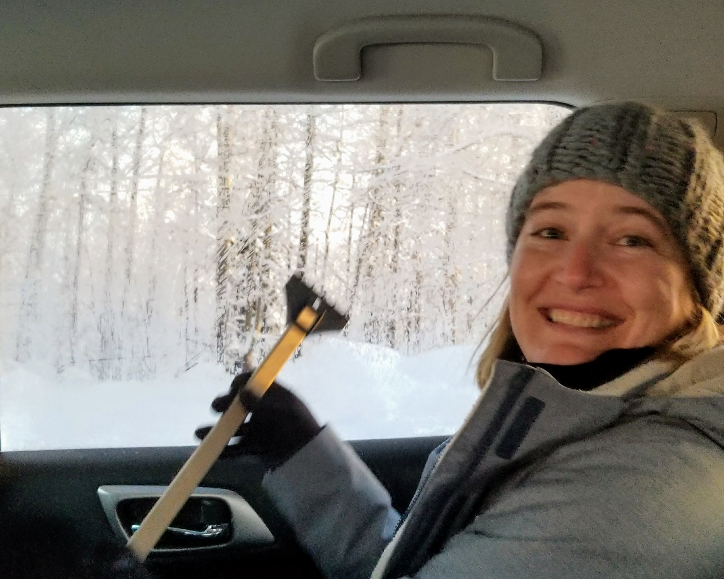 The ice scraper that came with the rental car was pathetic. My driver's license worked much better.
