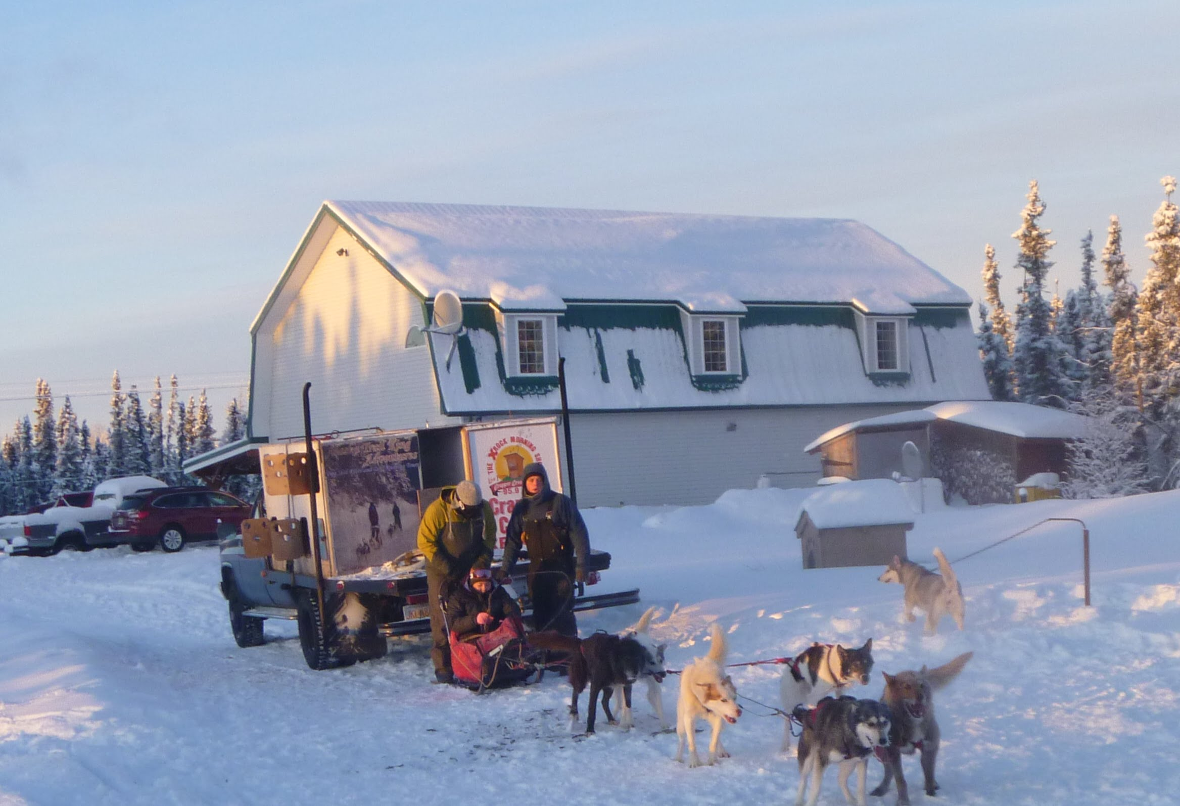 The Aurora Nights Inn behind out dogsleds.