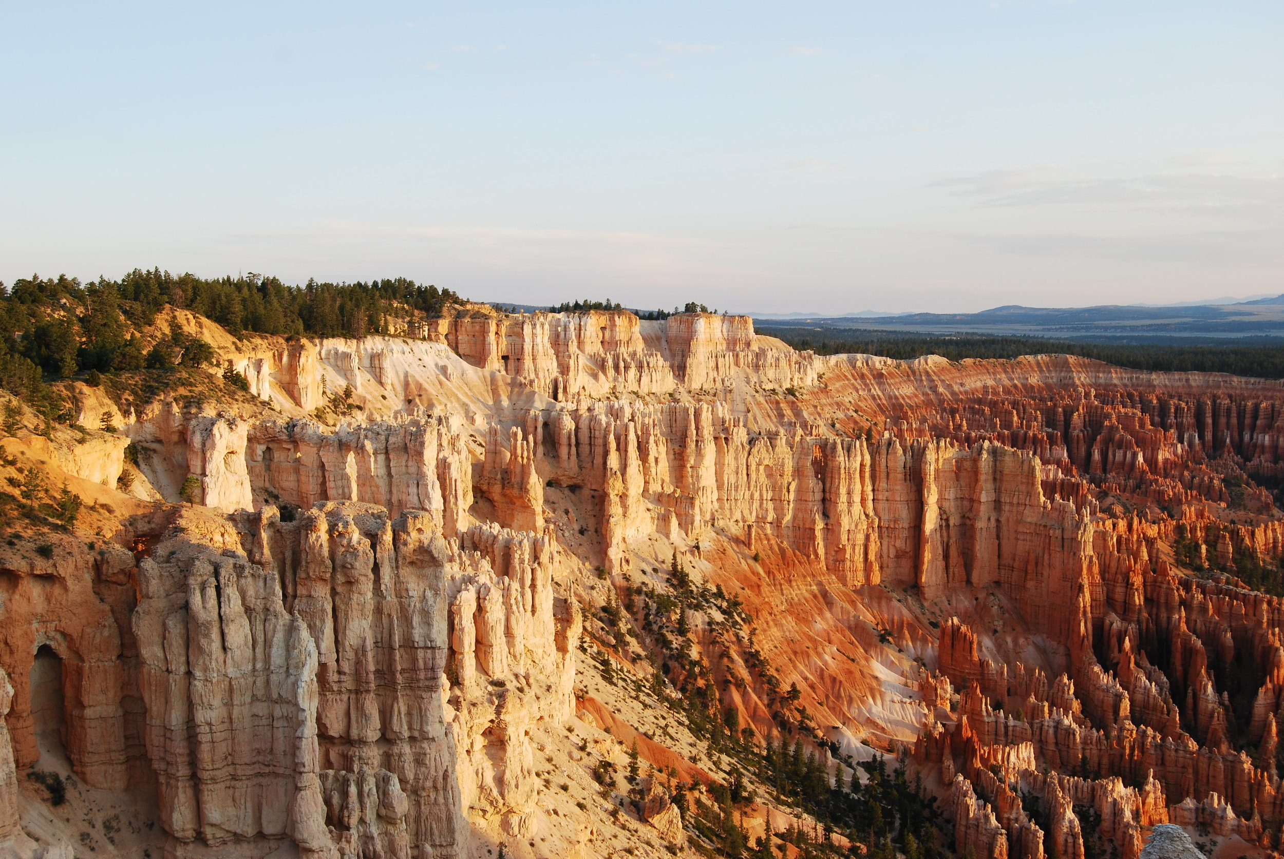 The hoodoos looked as if they were glowing when the light began to hit them.