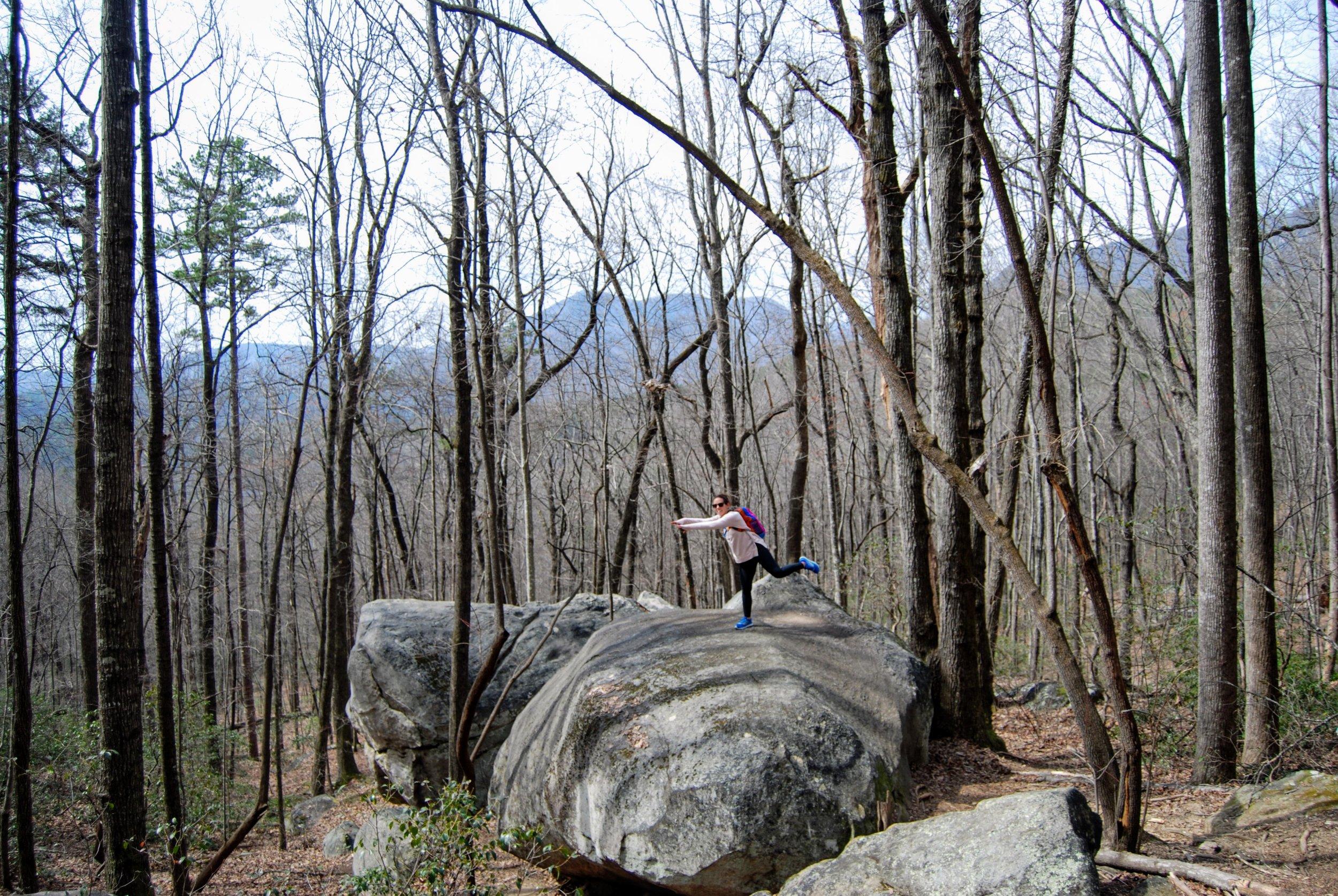 fun, giant boulders along the way