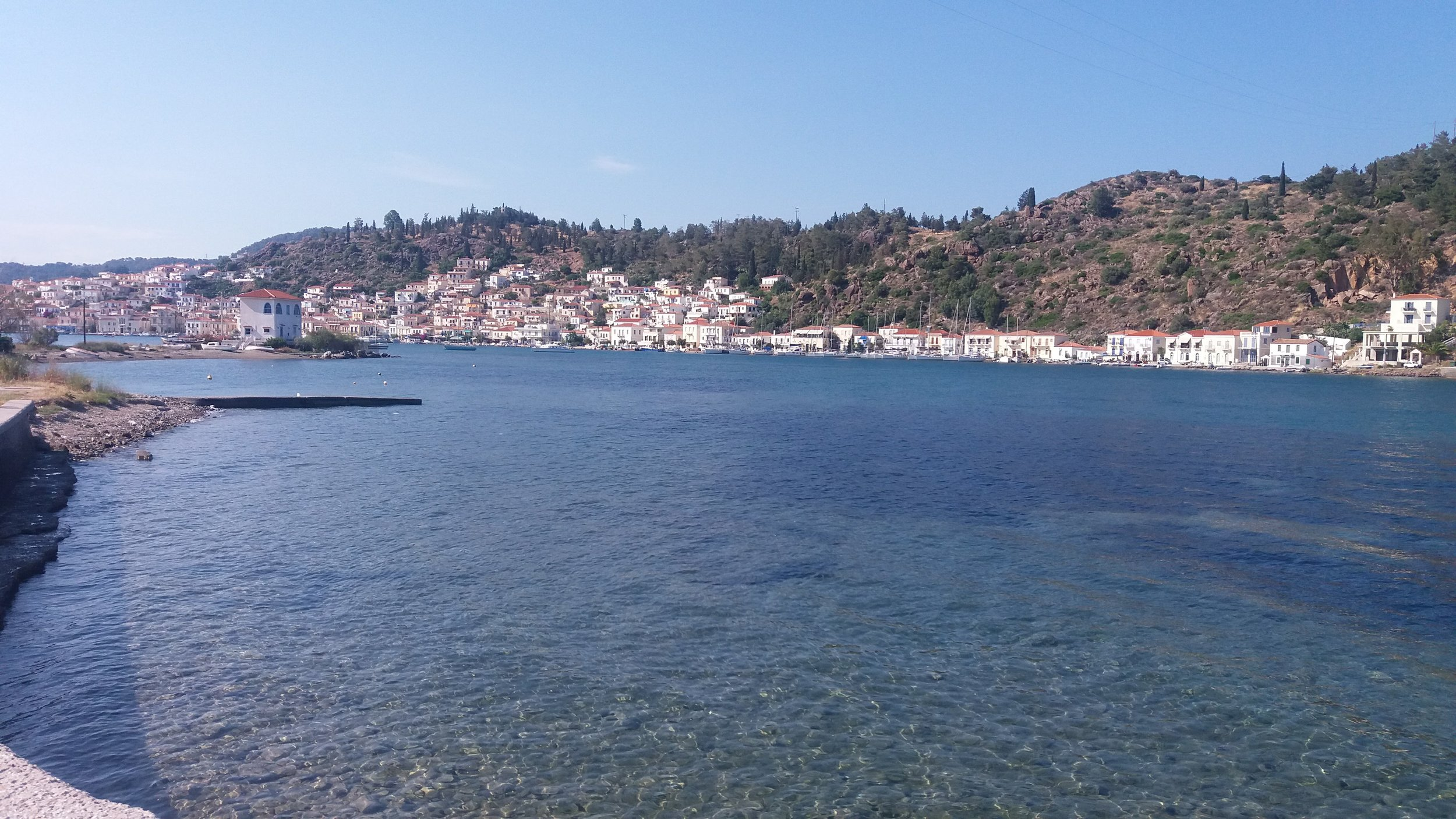 Looking at the island of Poros from the mainland. This is a very short ferry ride.