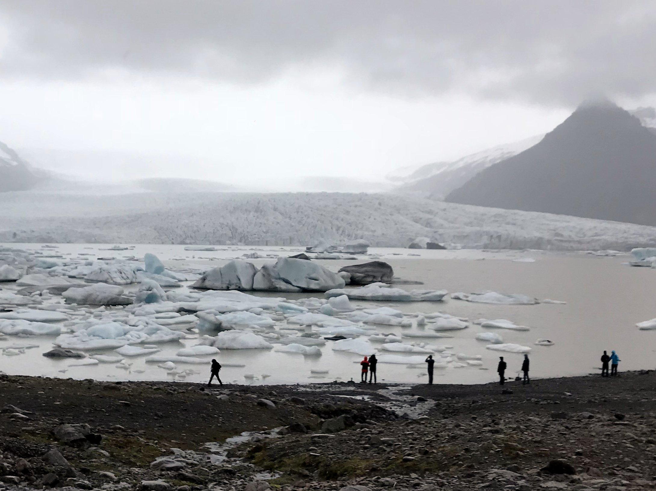 Fjallsárlón Glacier Lagoon with Vatnajökull Glacier behind it