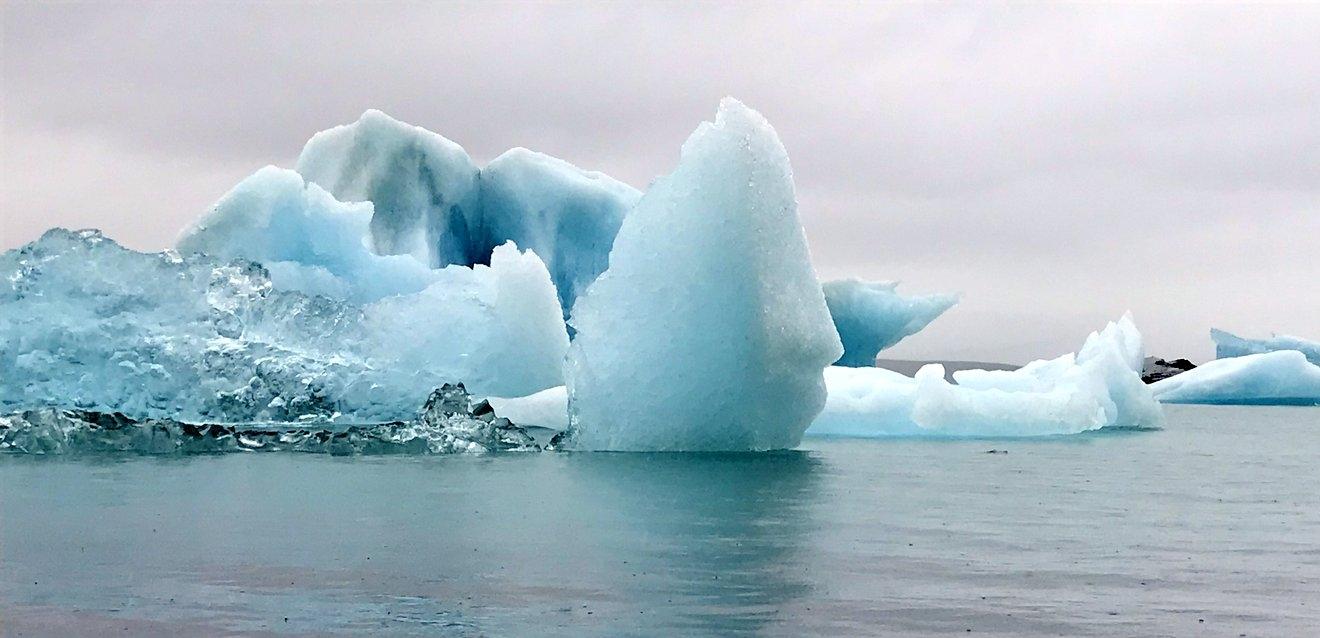Icebergs floating in Jökulsárlón Glacier Lagoon, just off the Ring Road.