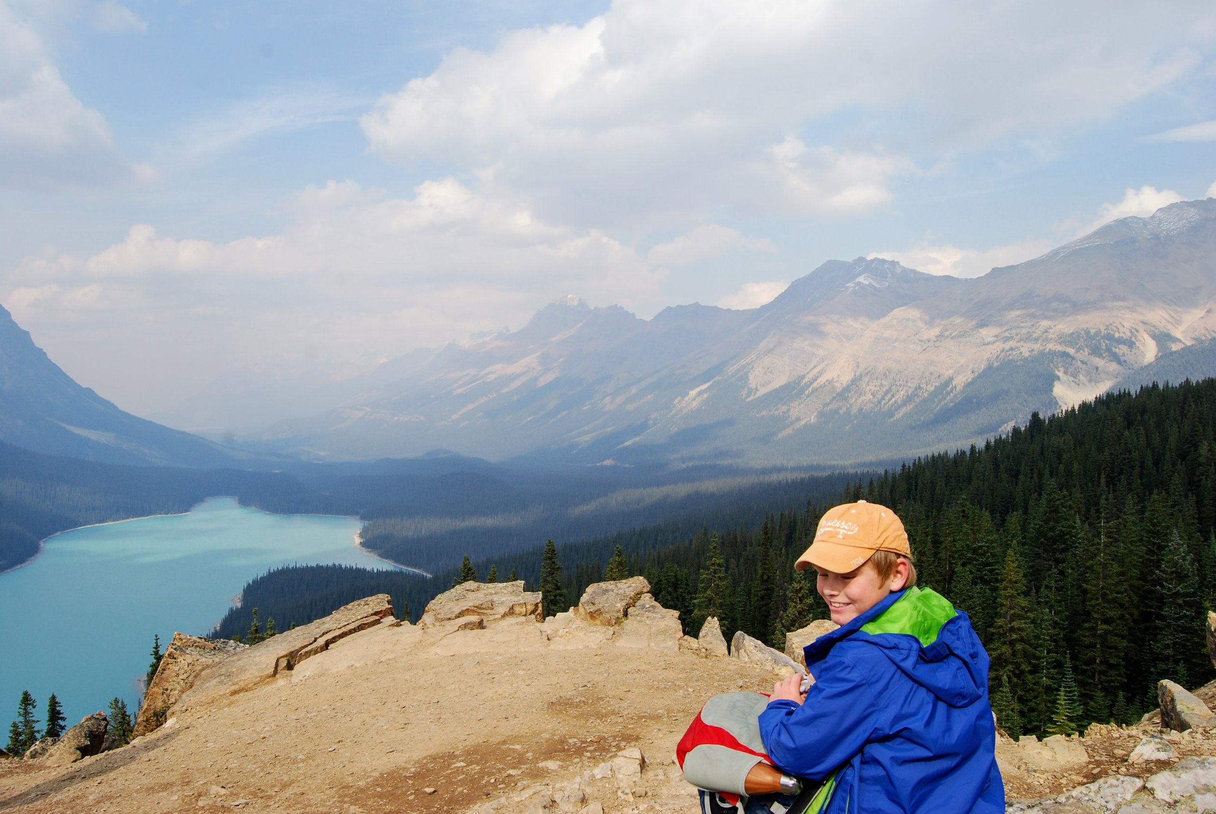 The Osprey and my nephew overlooking Peyto Lake in Banff National Park.