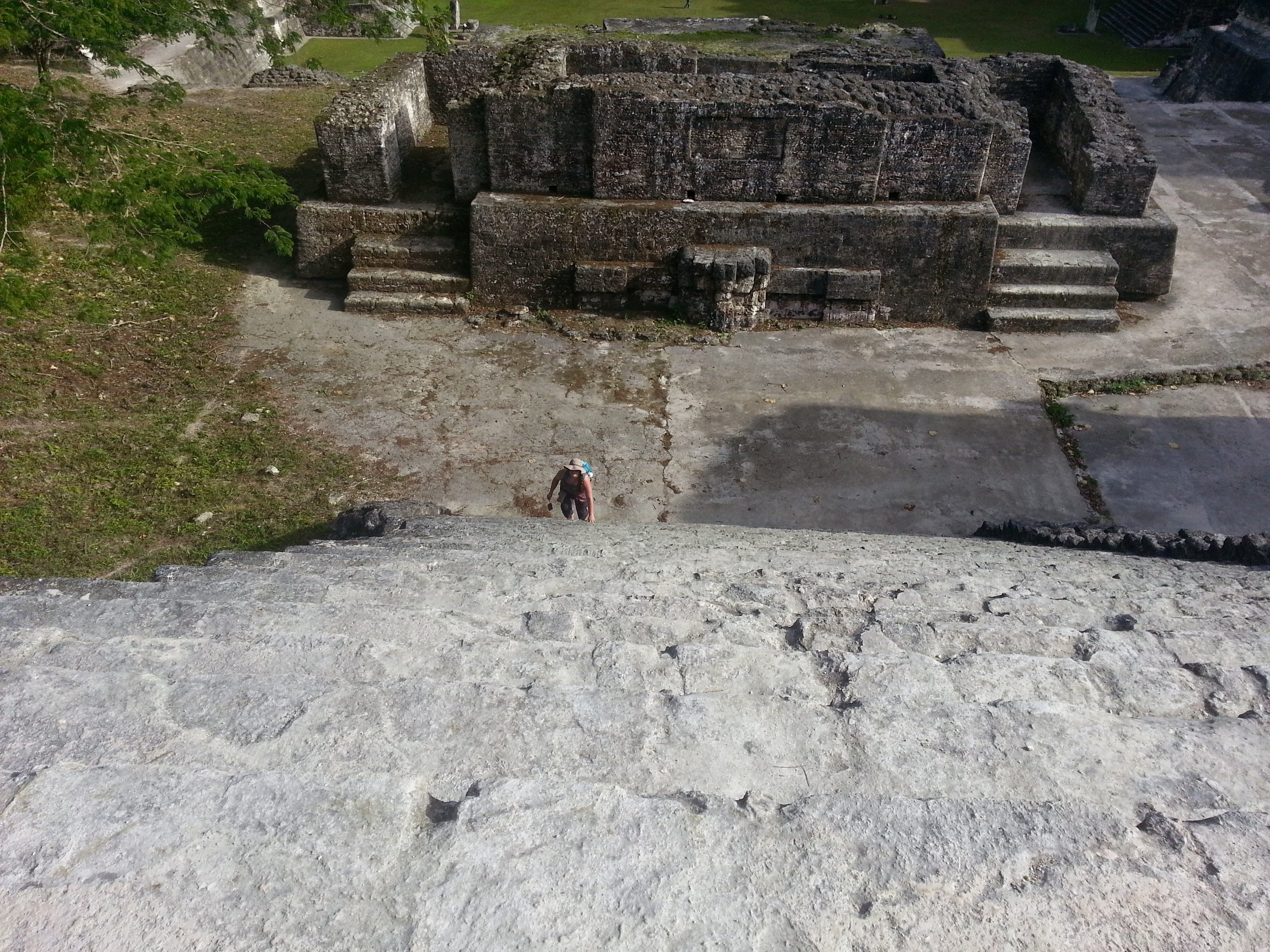 Climbing up the stone stairs of the North Acropolis. Now imagine this in the rain or on a dewy morning.
