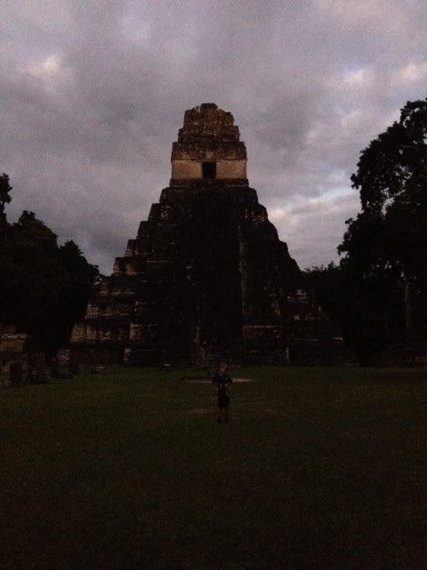This picture is taken about 10 minutes after sunset in the Grand Plaza, which is a big cleared area. From the Grand Plaza, you must walk 2 km back to the entrance of the park on a path through the jungle that is almost total darkness. It is really fun.