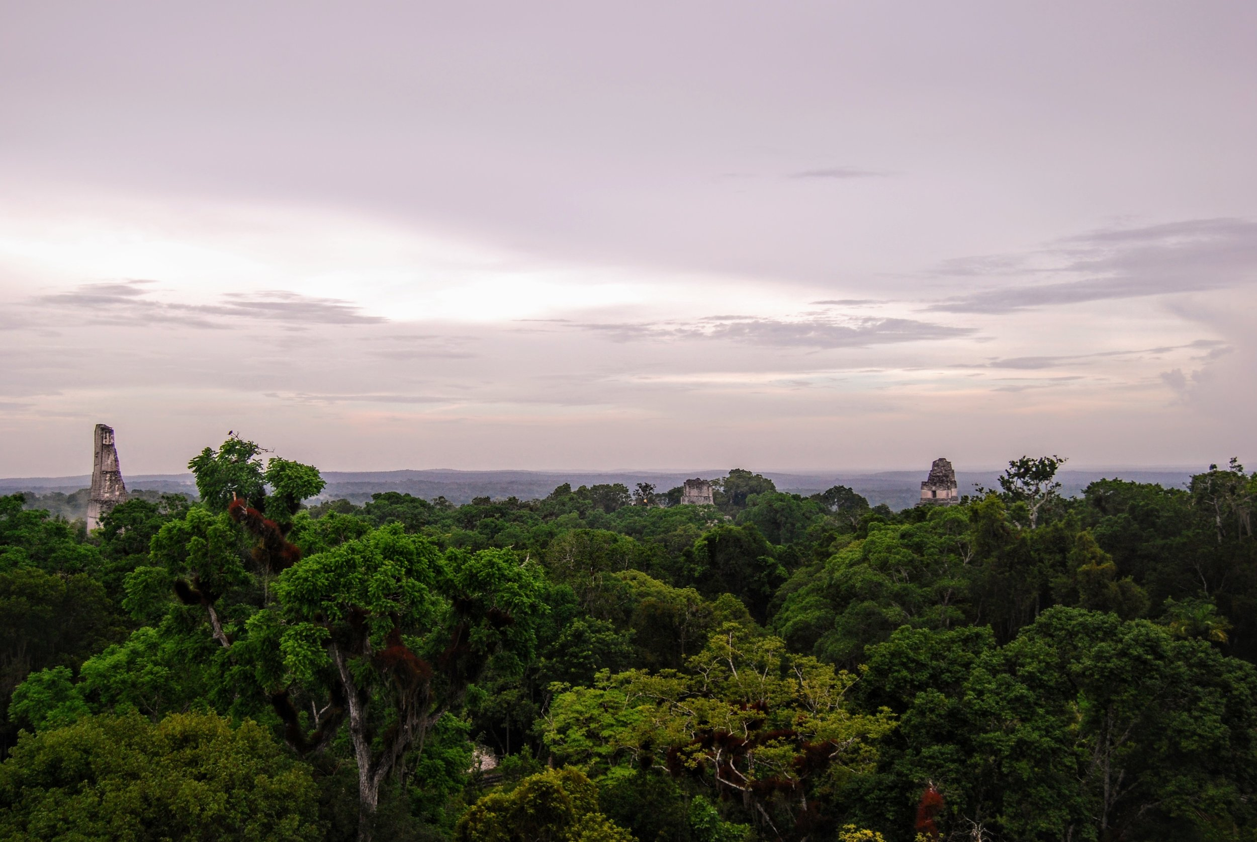 Sunset from the platform in the Mundo Perdido section of Tikal.