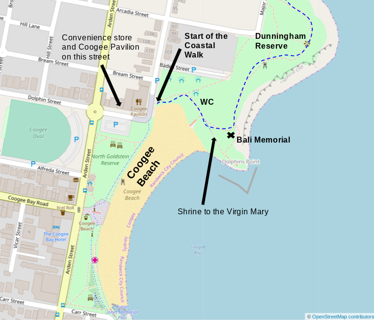 Map of Coogee Beach