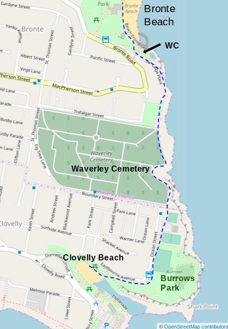 Map of Clovelly Beach to Bronte Beach