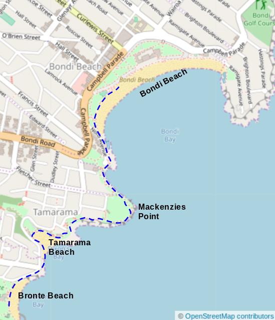 Map of Bronte Beach to Bondi Beach