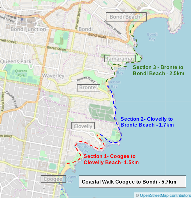 Map of Coastal Walk Coogee to Bondi