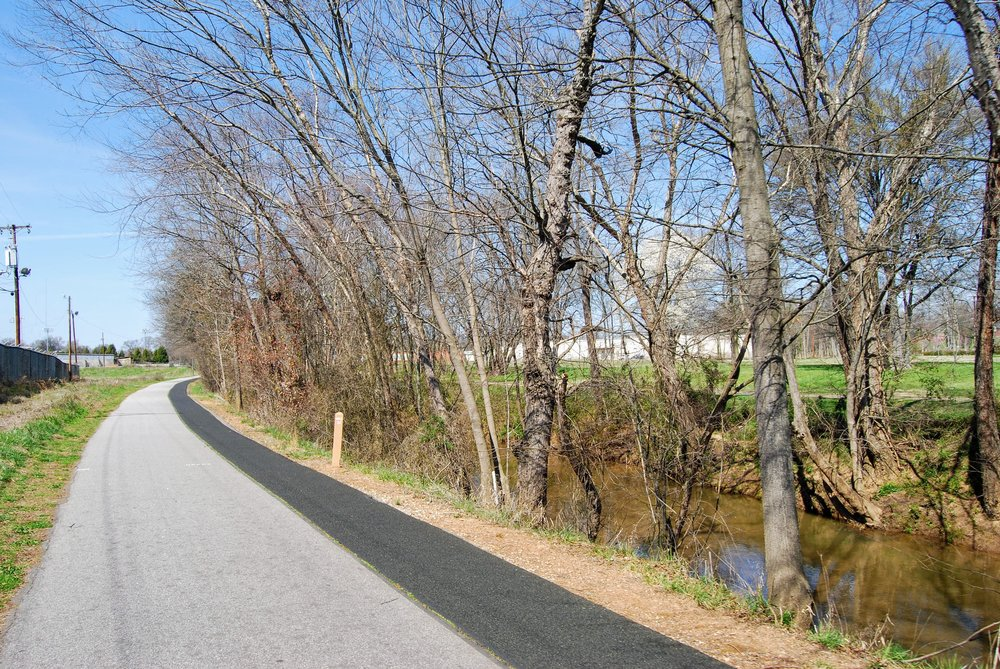 The trail along the mighty Reedy River. The first few miles out of Greenville aren't the most scenic but its nice enough.