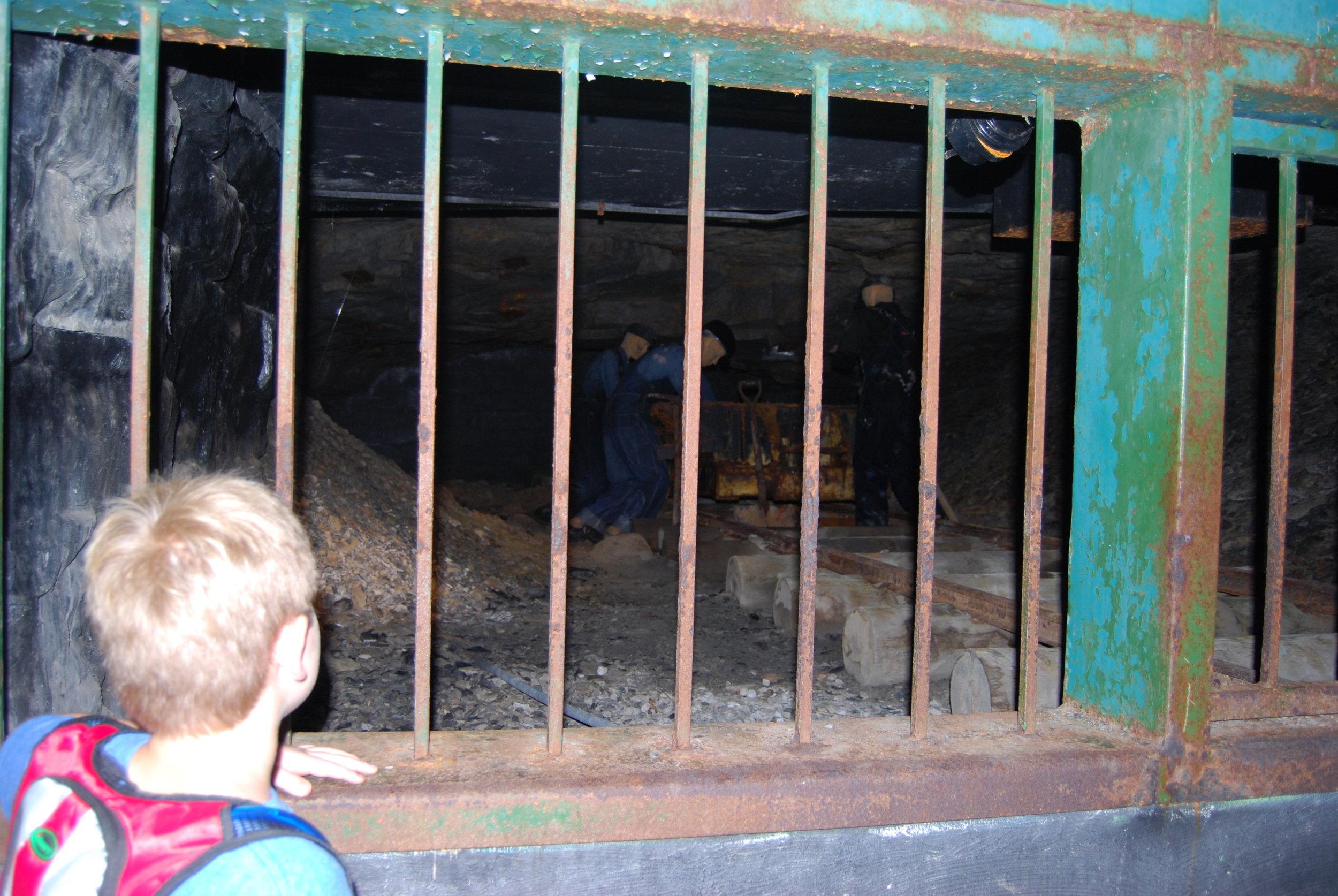 Recreated mining scene inside the mine entrance.