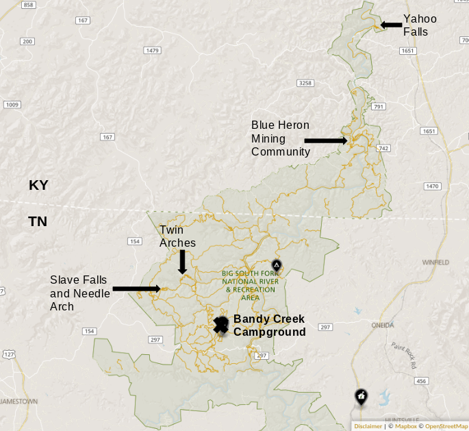 Map of all of the places we visited and hiked in Big South Fork. Map courtesy of the  NPS  with my own additions.