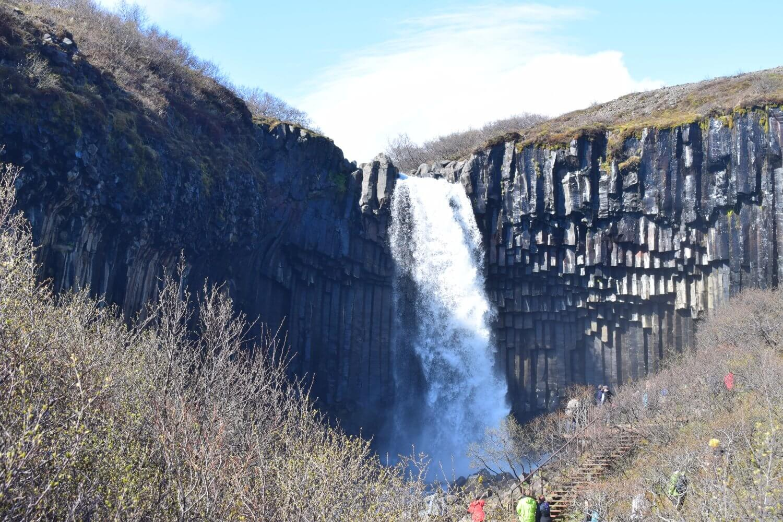 Black basalt columns surrounding Svartifoss
