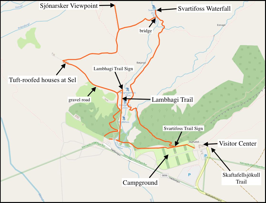 Svartifoss-Sjónarsker-Sel Loop Hike-Map courtesy of openstreetmaps.org.