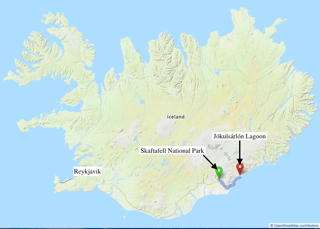 Map of Iceland- Courtesy of openstreetmaps.org