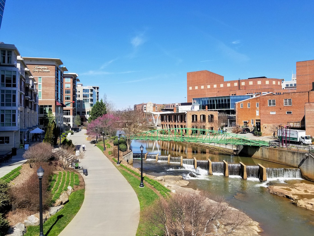Greeneville's picturesque downtown and riverfront Swamp Rabbit Trail