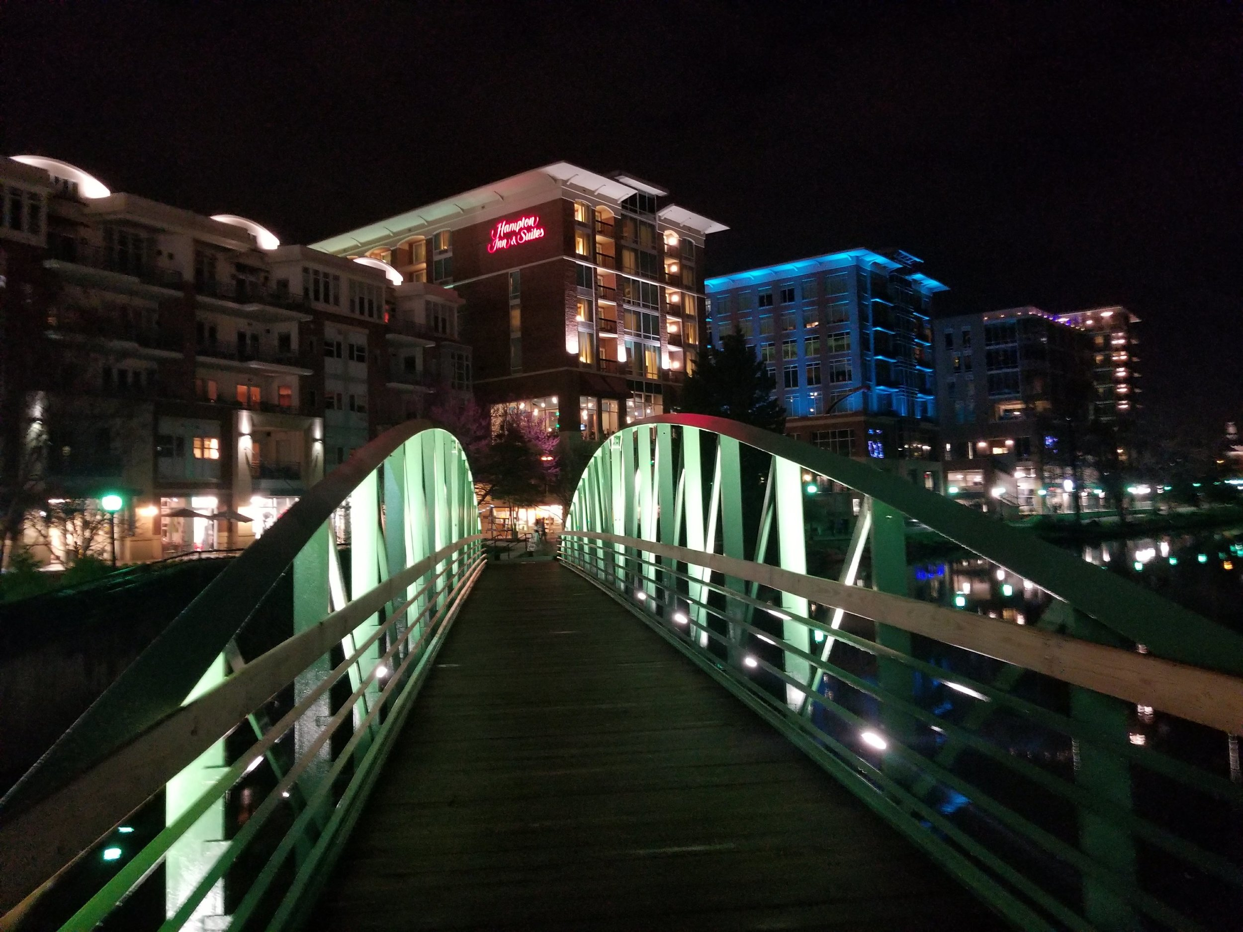 Walking across the Reedy River on the pedestrian bridge back to the Hampton Inn & Suites