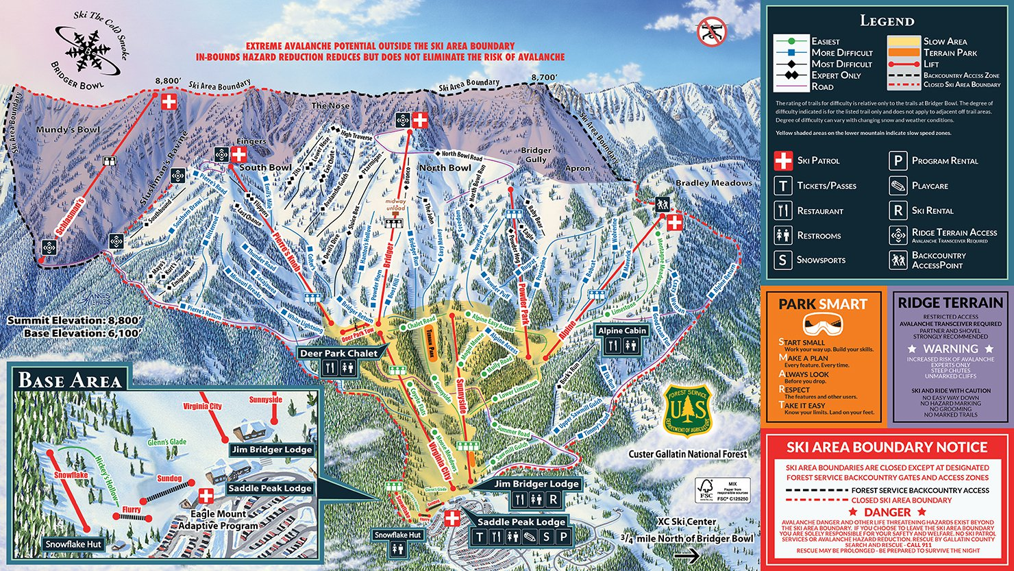 Click to enlarge trail map. Courtesy of www.bridgerbowl.com.