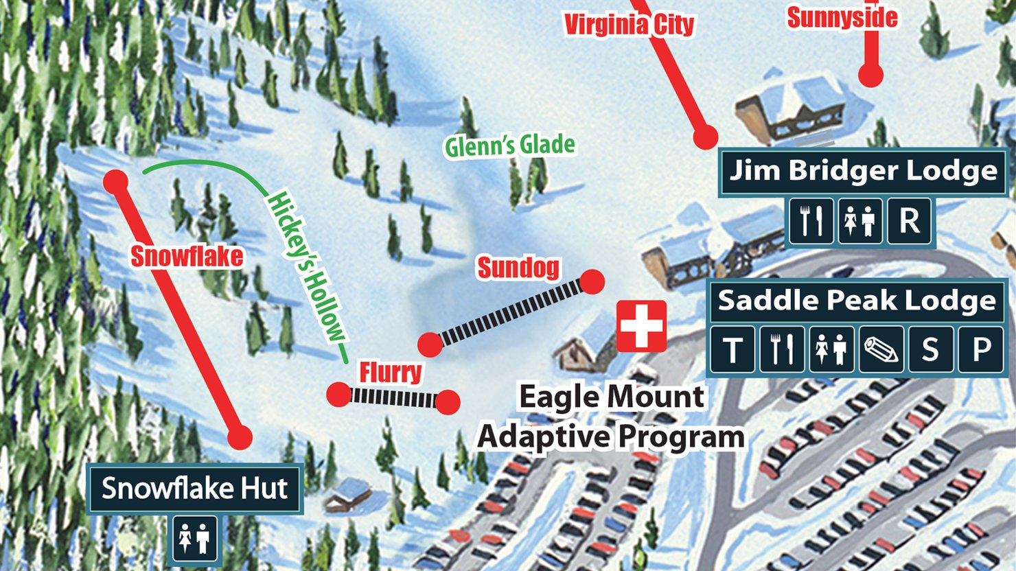 Base Map- Courtesy of www.bridgerbowl.com.