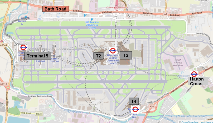 Map of London Heathrow Terminals and Underground Stations
