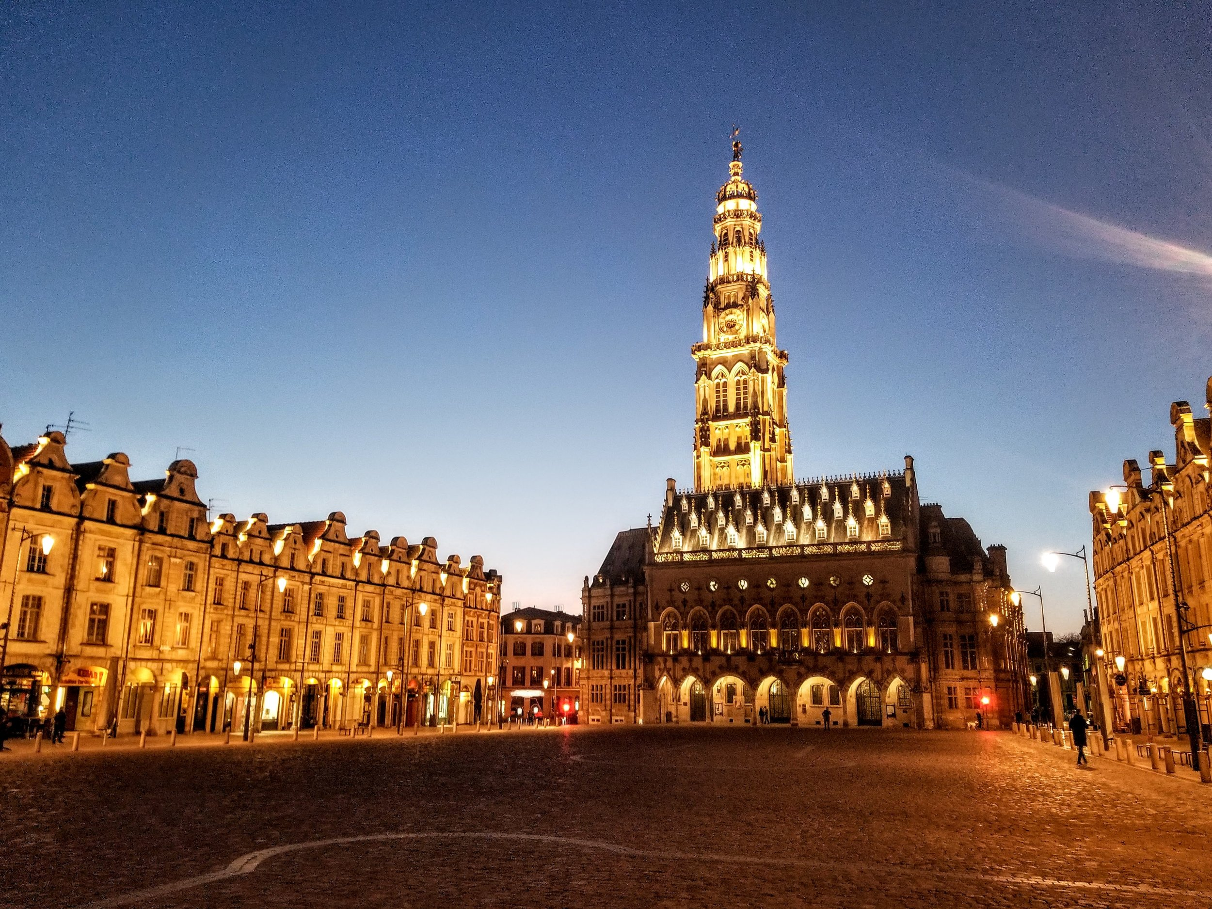 One of 2 town squares in Arras. In the summer, this square is packed with tables and people. In March, not so much. But still beautiful.