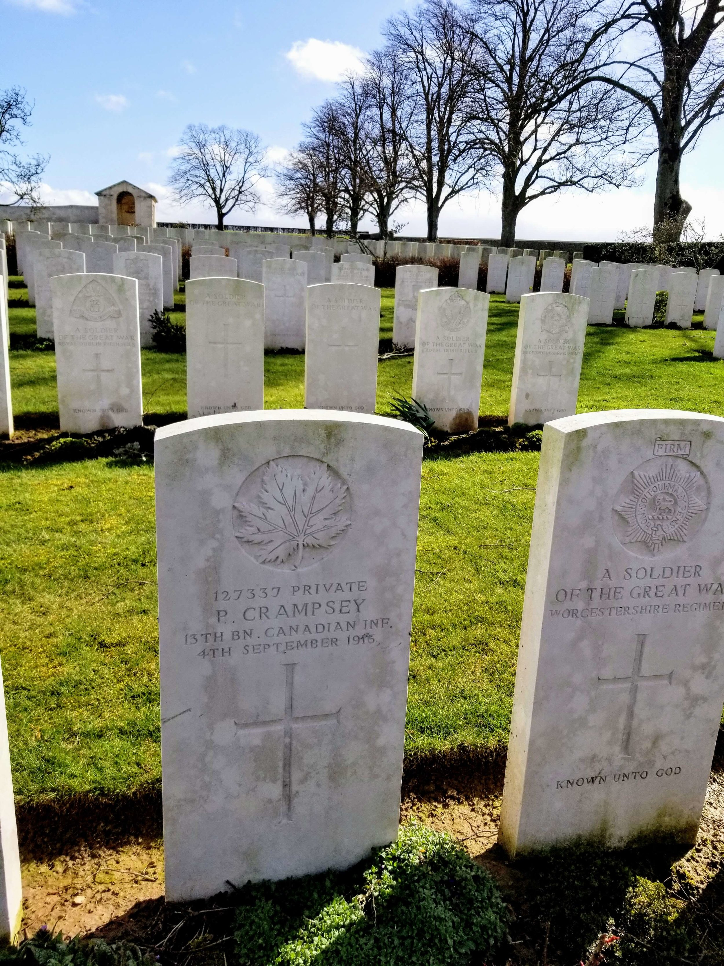 Great- great uncle's grave in northern France. He is buried in one of the many small cemeteries dotting the countryside around the Somme River.