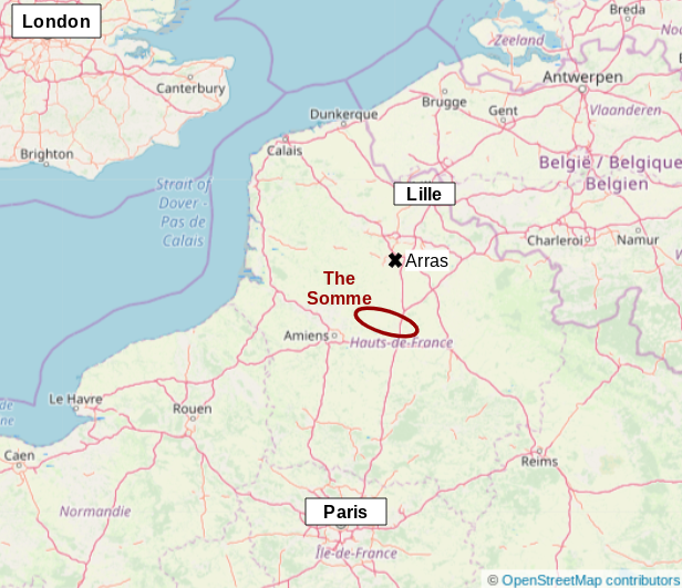 Map of northern France and the location of the Somme