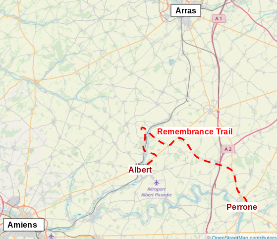 Map of the Remembrance Trail and the Somme