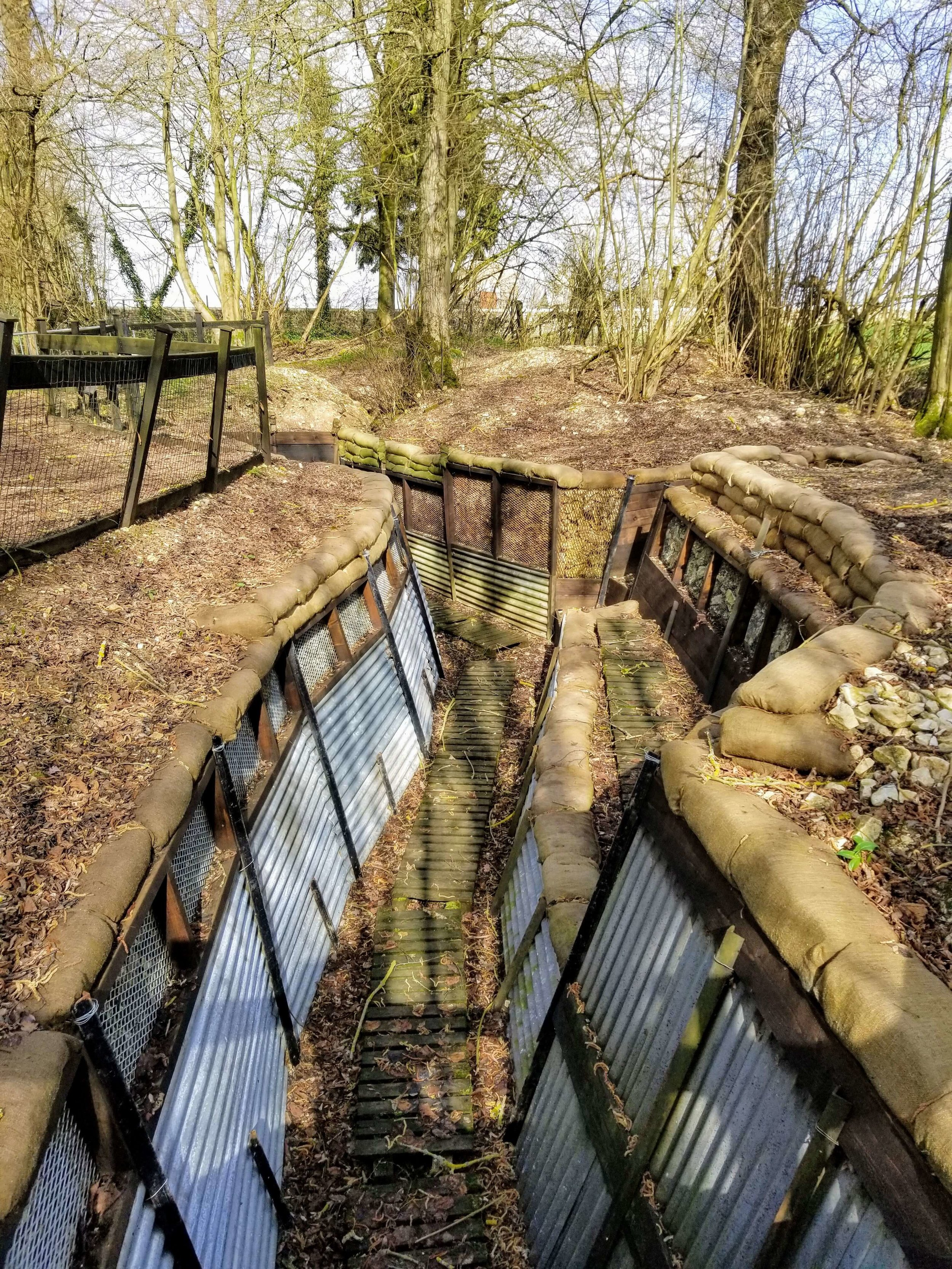 Recreated trench in Thiepval Wood