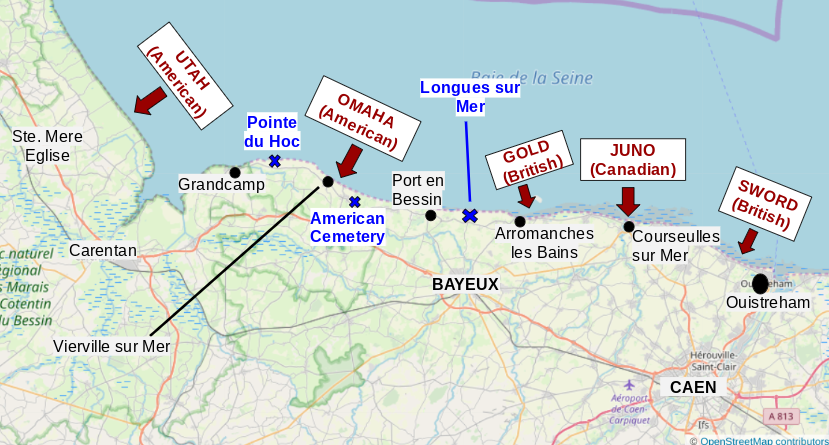 A basic map of Normandy with the towns, D- Day beaches, and other WW II places we visited marked.