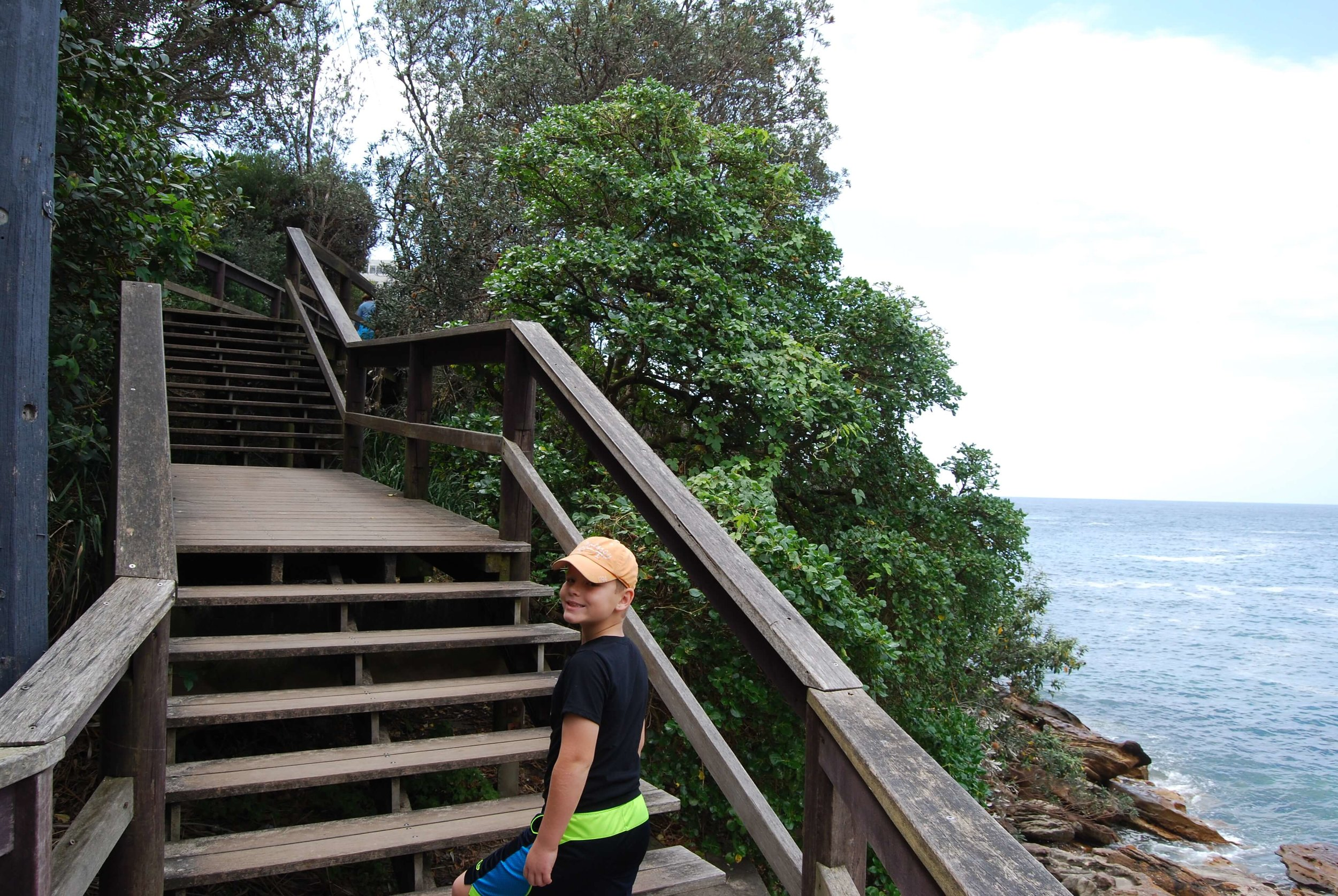 There are sections of stairs on the coastal walk that would be very difficult with a stroller. This photo is near Gordons Bay.