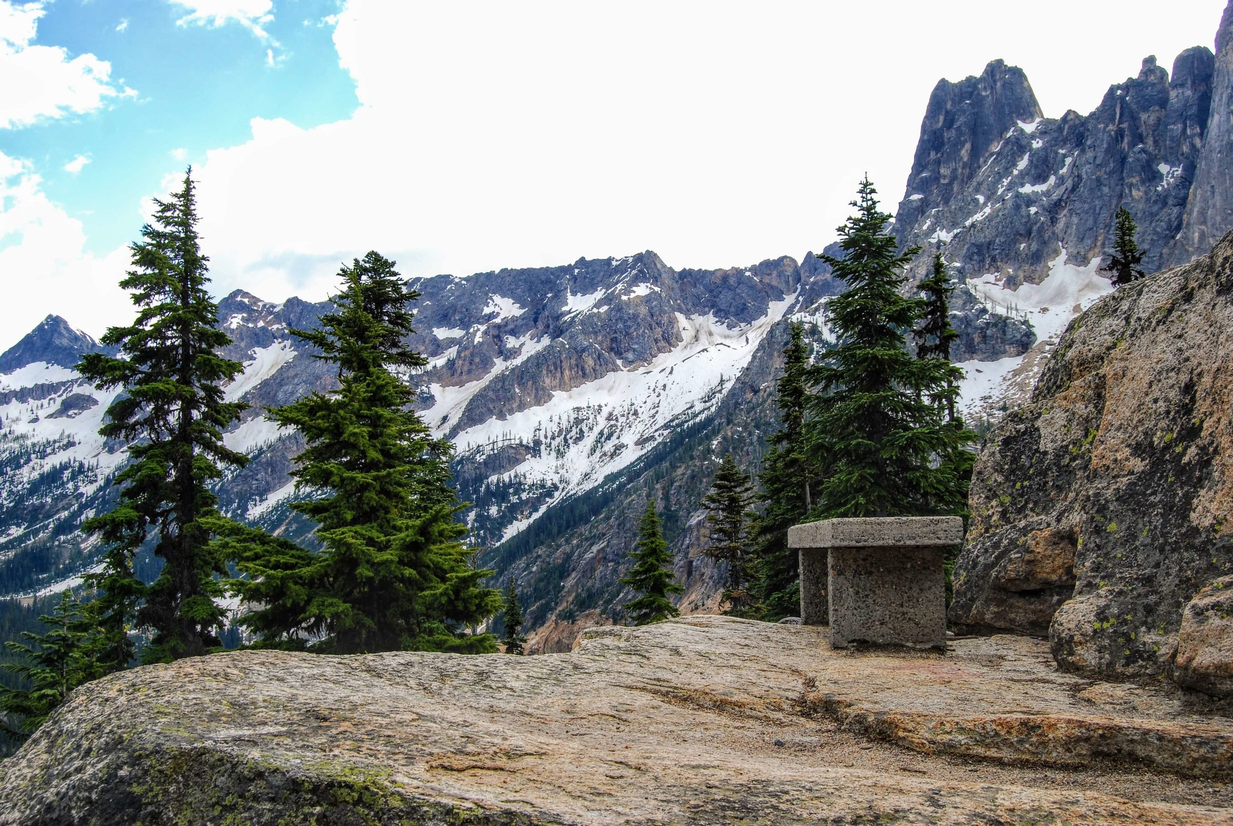 A seat with a view of the stunning scenery at Washington Pass