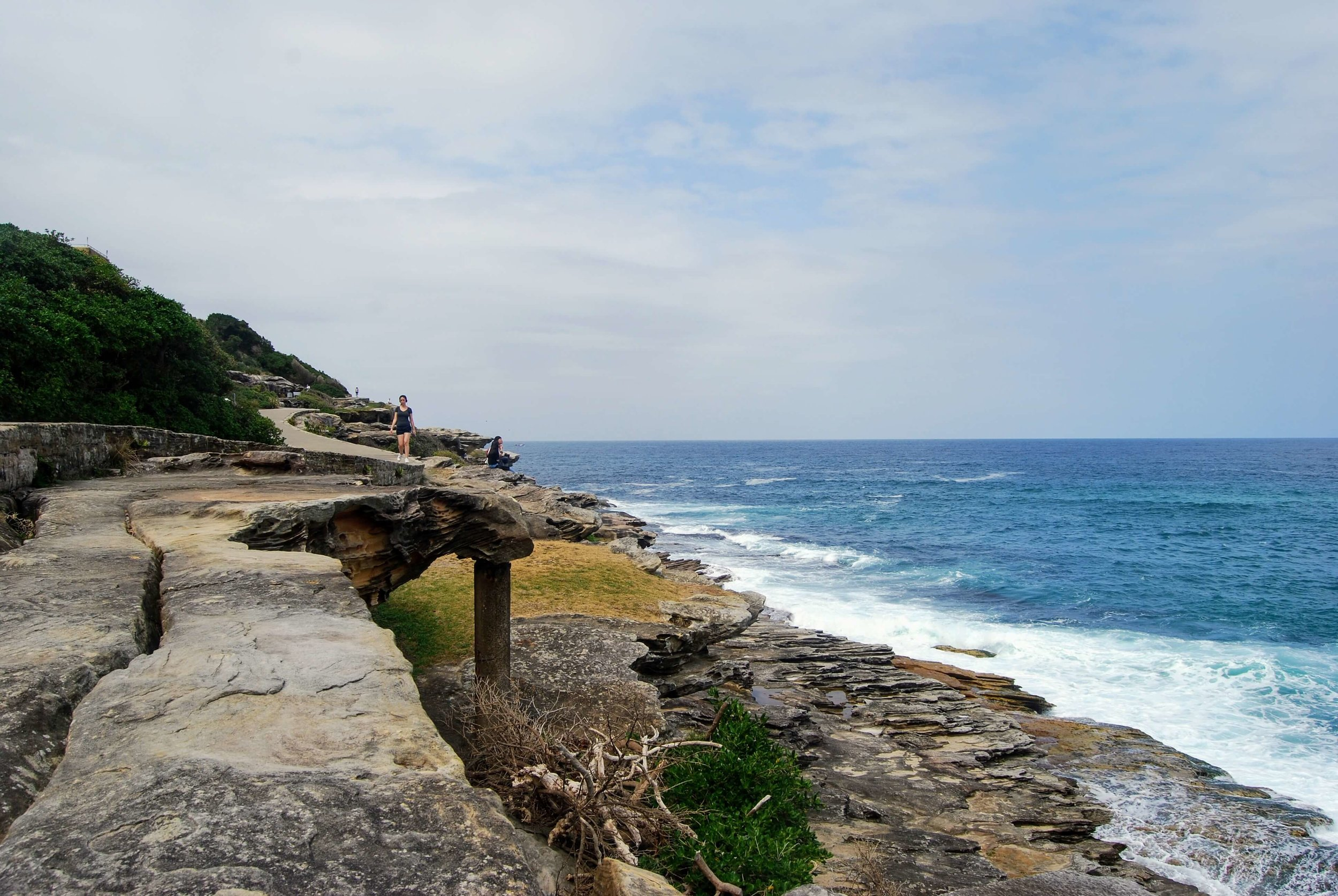 Part of the coastal walk between Tamarama and Bondi is literally perched over the shore.