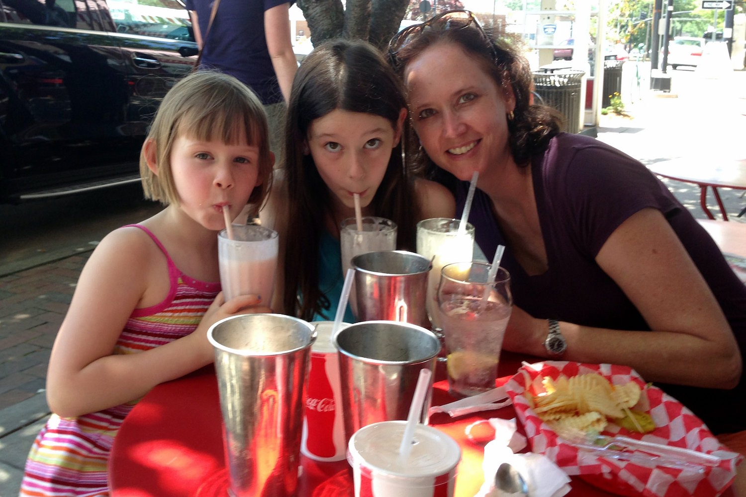 Enjoying milkshakes at Rocky's Grill & Soda Shop