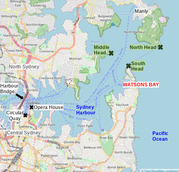 Map of Watsons Bay and Sydney Harbour
