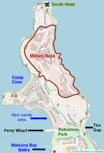 Map of Watsons Bay
