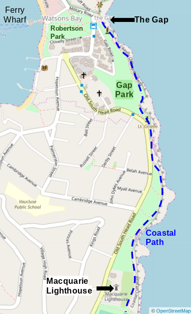 Map of the Coastal Walk from The Gap to Maquarie Lighthouse