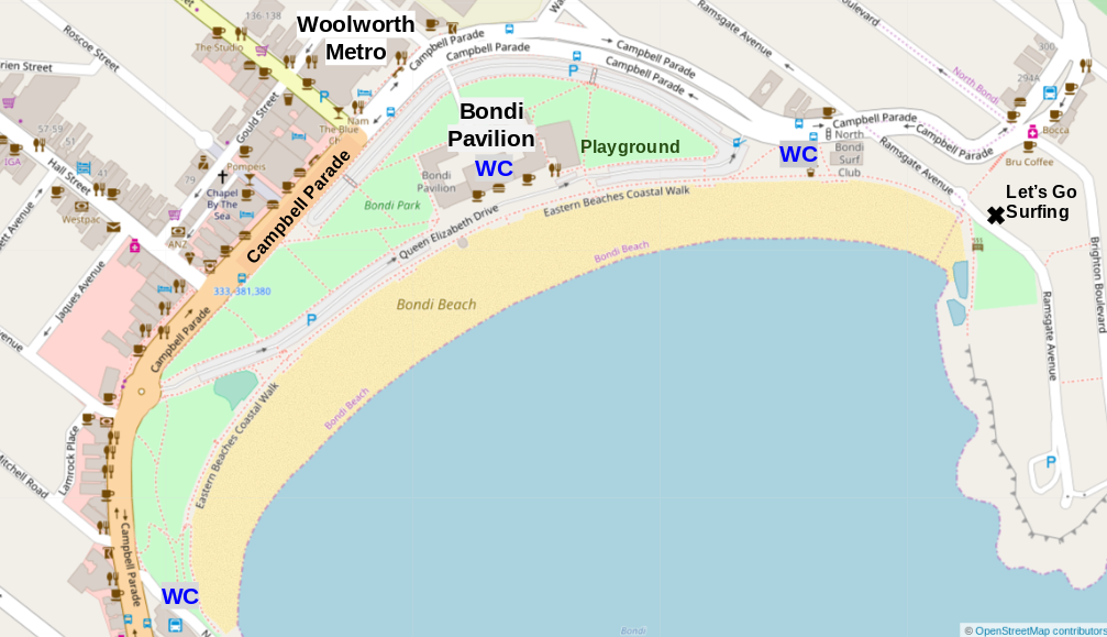 Map of Bondi Beach. Restaurants line Campbell Parade.